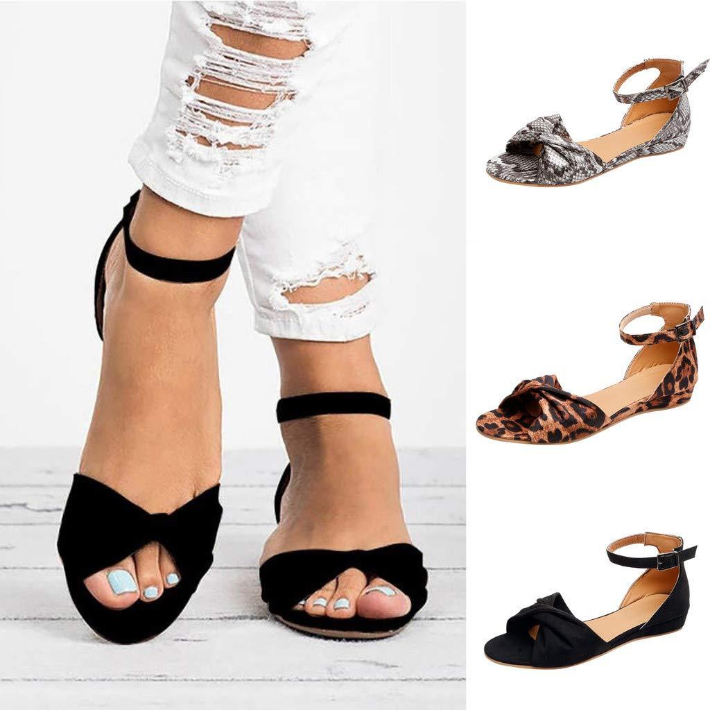 22f62c66cb6e Amazon.com: Shoes for Women Open Toe Platform Strap Flat Heel Buckle Ankle  Wrap Leopard Sandals: Clothing