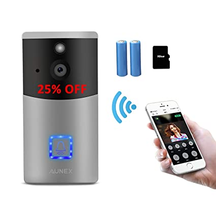 Video Doorbell Wireless Smart 720P HD Security Camera Doorbell with 16G  Card 2 Batteries Support 2-Way Talk Wide Angle PIR Motion Detection Night