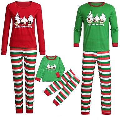 f7638658e151 Yezijin Parent-Child Christmas Daddy Cartoon Letter Print Top+Stripe ...