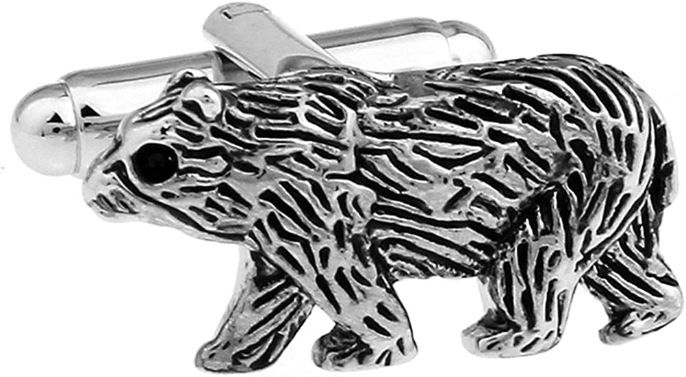 Stock Broker Brother Walk Bear Cuff Links Silver Cufflinks