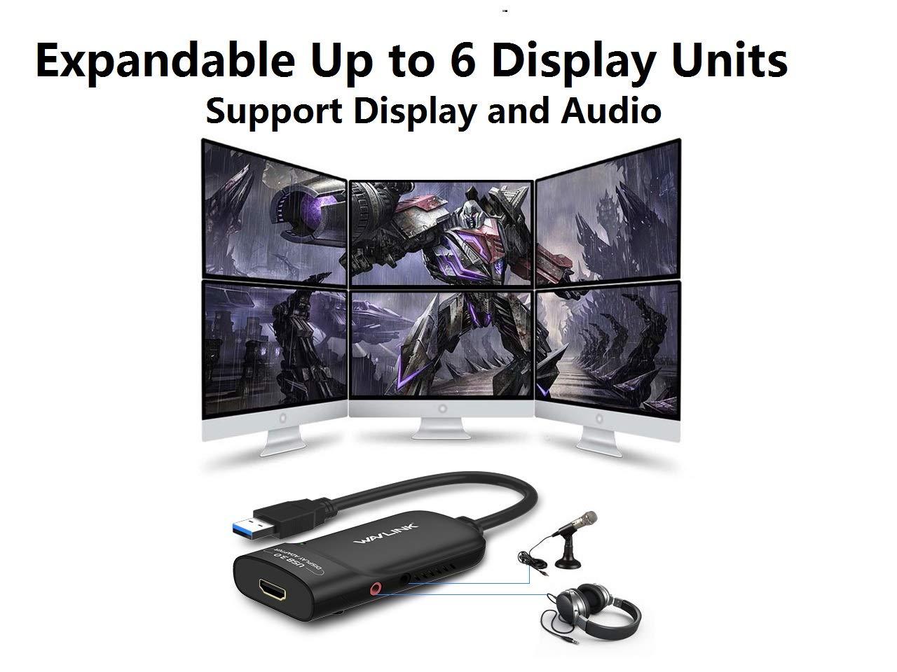 Wavlink adaptateur USB 3.0/vers HDMI vid/éo externe fin carte /écran daffichage Prend en charge 2048//× 1152/R/ésolution avec port audio pour Windows 10//8//7//XP/ /Noir