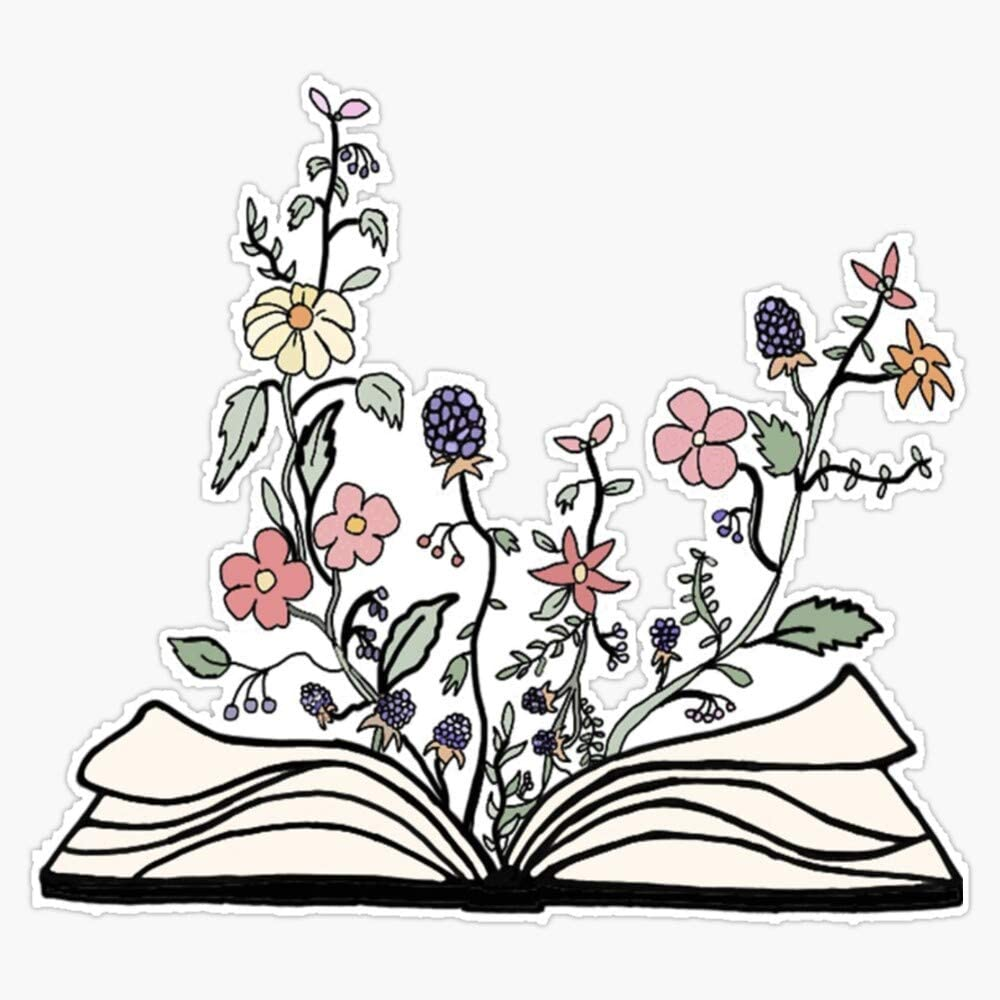 "Book Of/With Flowers Sticker Vinyl Waterproof Sticker Decal Car Laptop Wall Window Bumper Sticker 5"""