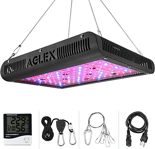 AGLEX 1200W LED Plant Grow Lights, Dual Switch Plant Lights for Indoor Plants Full Spectrum with Daisy Chained, Thermometer Humidity Monitor and Adjustable Rope Grow Lamp for Indoor Plants