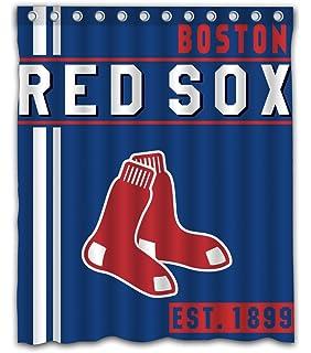 Boston Baseball Team Emblem Waterproof Shower Curtain Blue Design Polyester For Bathroom Decoration 60 X 72