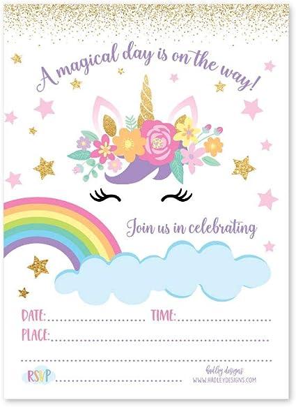 10 Unicorn Sleepover Party Invitations Personalised Invites Birthday Slumber