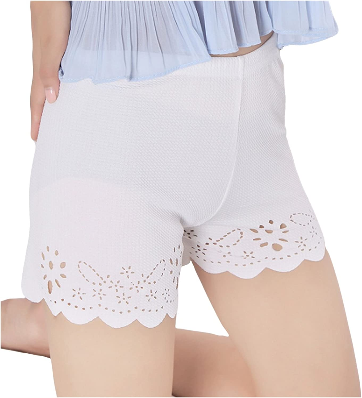 Letuwj Women`s Ultra Thin Safety Pants Stretch Leggings Floral Print Boyshort