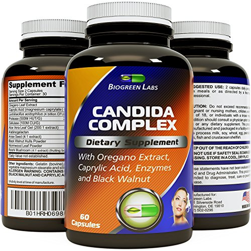 Candida Cleanse Detox Capsules for Men and Women – Natural Candida Support Supplement -Immune System Booster with Anti-Fungal Caprylic Acid and Oregano Leaf - Increase Energy & Promote Weight Loss