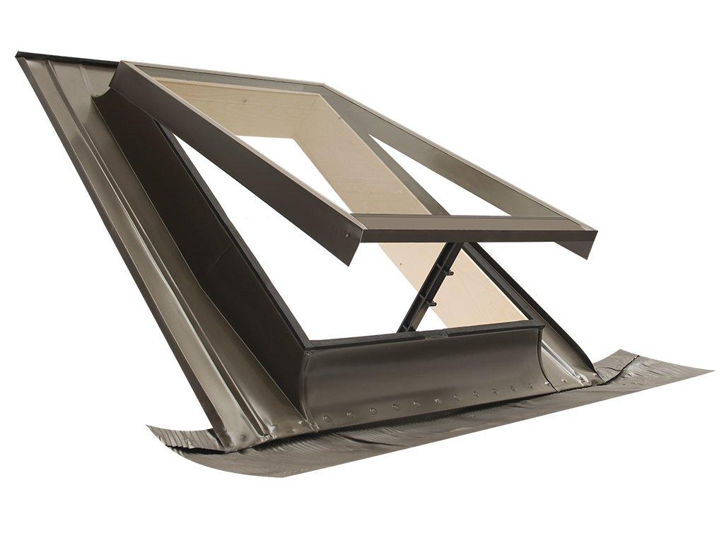 Claraboya - Ventana para tejado'BASIC VASISTAS' (apertura tipo Velux) Tragaluz por el acceso al techo/Tapajuntas incluido (55x45 Base x Altura) ELUMA