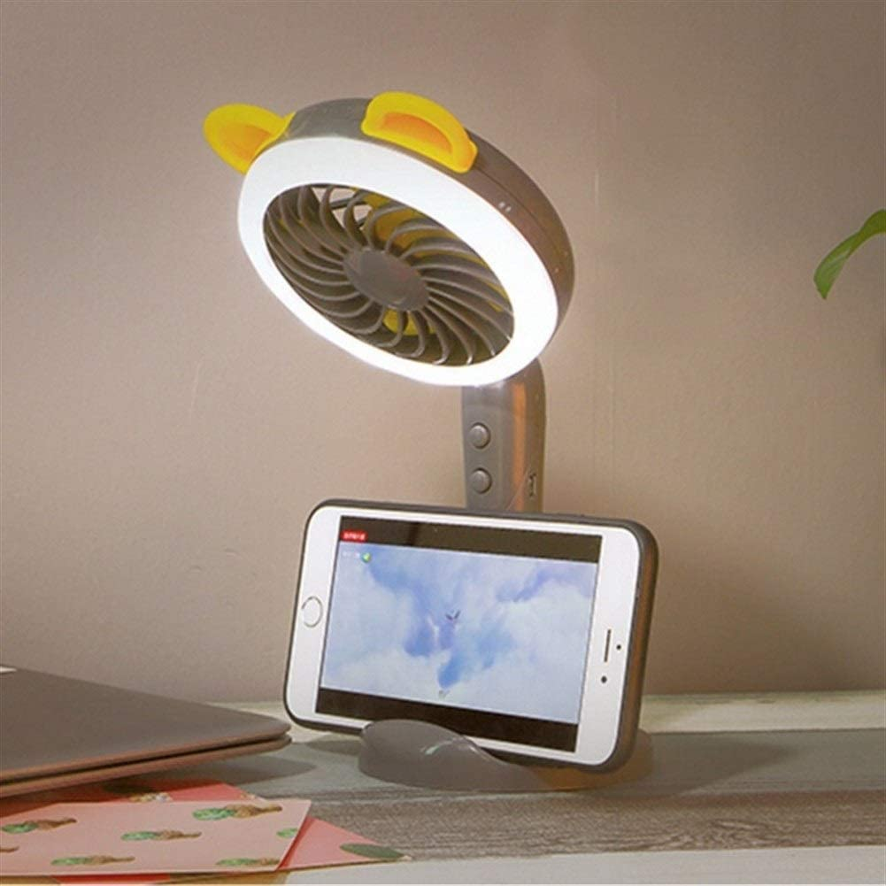 Air Cooler Cartoon Handheld Portable Fan Color : White Mini USB Rechargeable,with Table Lamp Adjustable 2 Speed Ventilator Desk//Table Cooling Fan