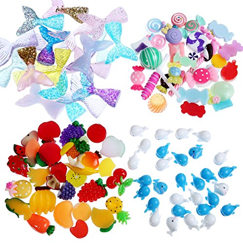 Tatuo 120 Pieces Slime Charms Mixed Fruit Sweets Mermaid Tail and Dolphin Slime Beads for Scrapbook DIY Crafts