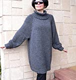 Oversize Women Sweater, Jumper Alpaca Grey Wool Cozy