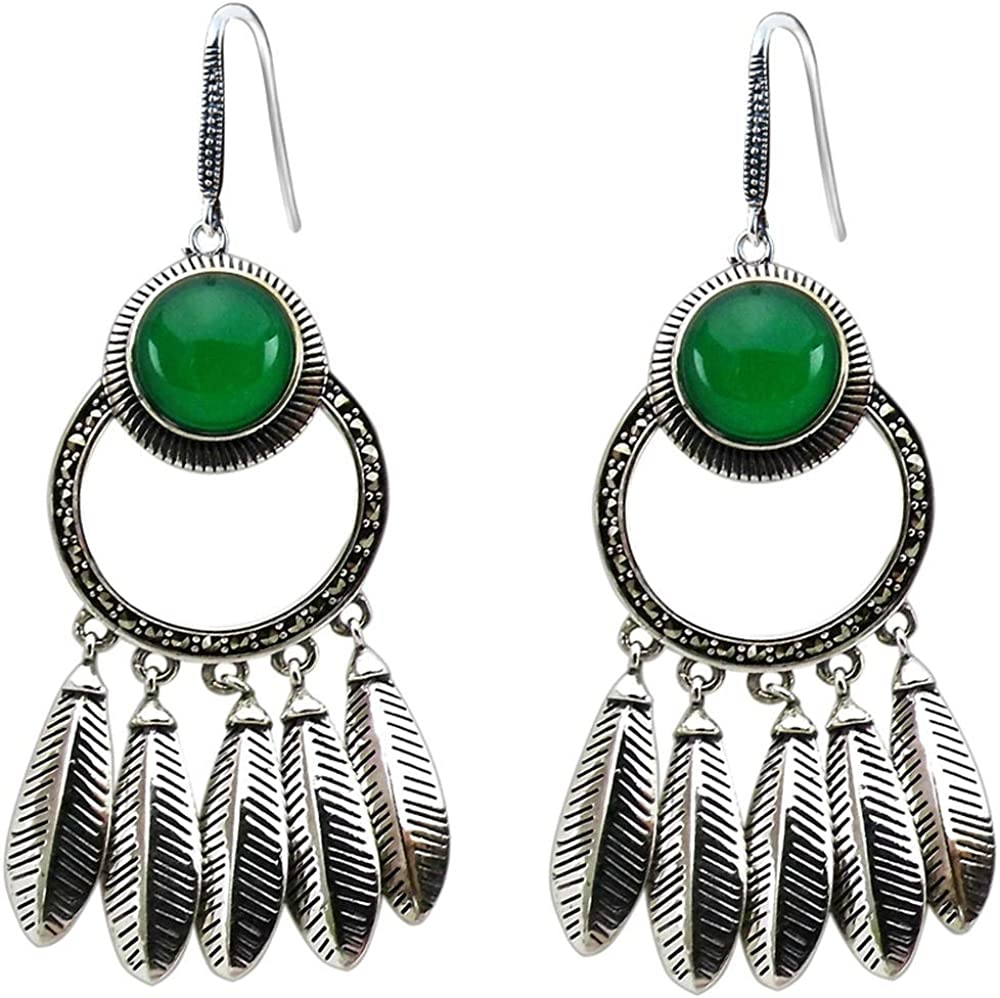 S925 plata natural verde ágata pluma borla atmósfera exagerada granada roja pendientes de piedras preciosas
