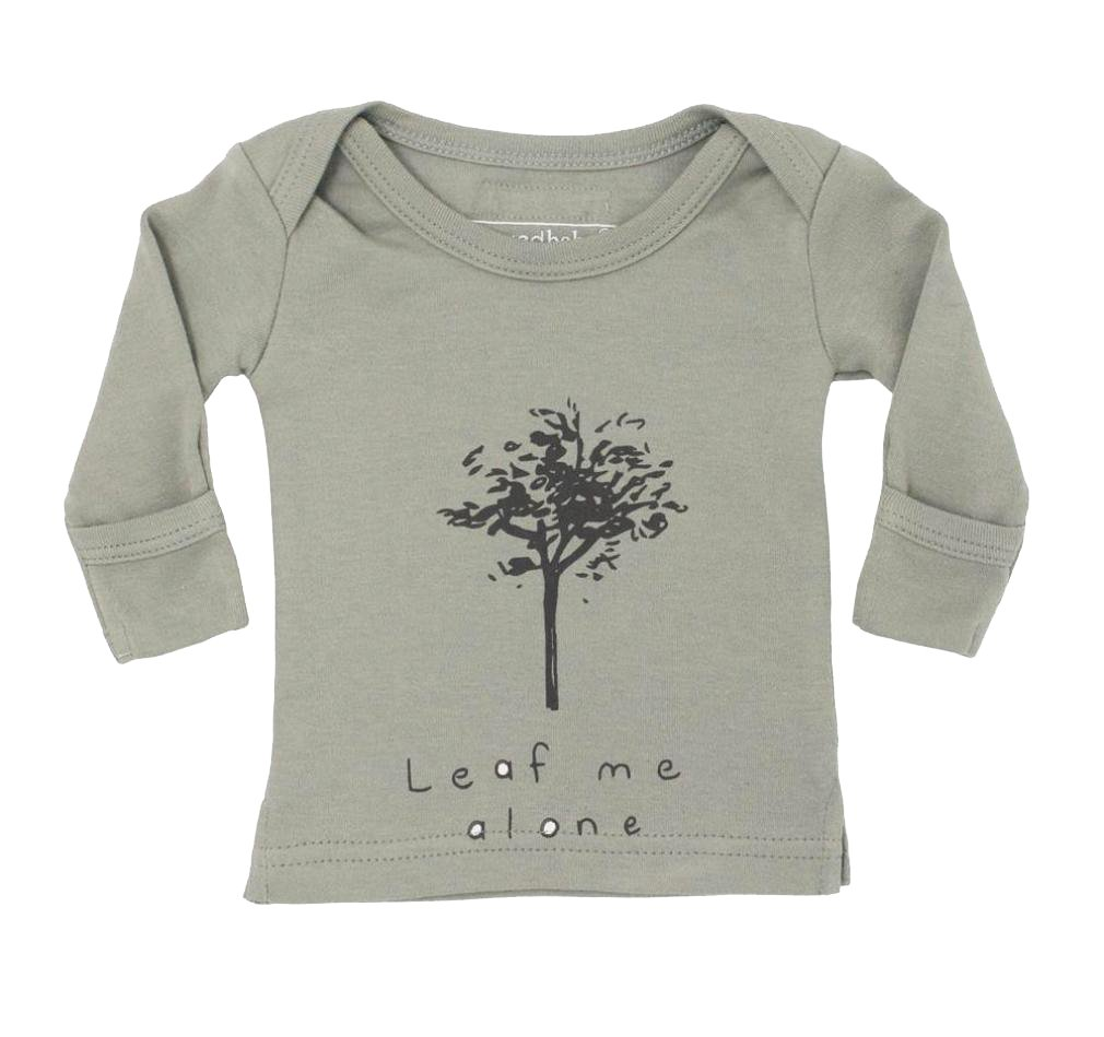 L'ovedbaby Unisex-Baby Organic Cotton Long Sleeve Shirt (Seafoam Leaf Me Alone, 12-18 Months)