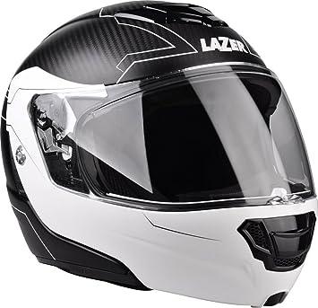 Lazer MLE0410201G1S Monaco Evo Droid Pc Casco Moto Modular, Negro Carbon /Matt-Blanco