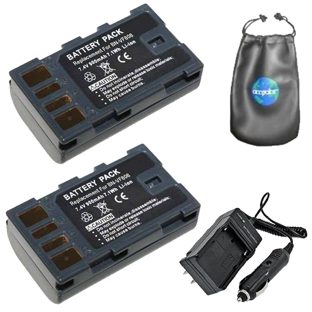 Pack-2: Digital Replacement Battery PLUS Battery Travel Charger for JVC BN-VF808, BN-VF808U - Includes Lens Accessories Pouch Amsahr VF808-2CT