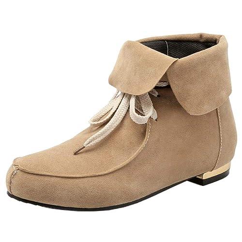 Aicciaizzi Mujer Planos Botas Mocasines con Cordones: Amazon.es: Zapatos y complementos