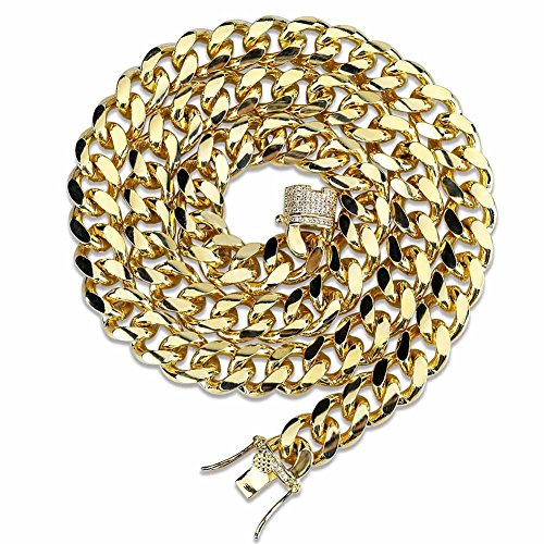 TOPGRILLZ 10MM 14K Gold Plated Finished Miami Cuban Link Chain Necklace with Iced out Simulated Lab Diamond Clasp for Men (22, Gold)