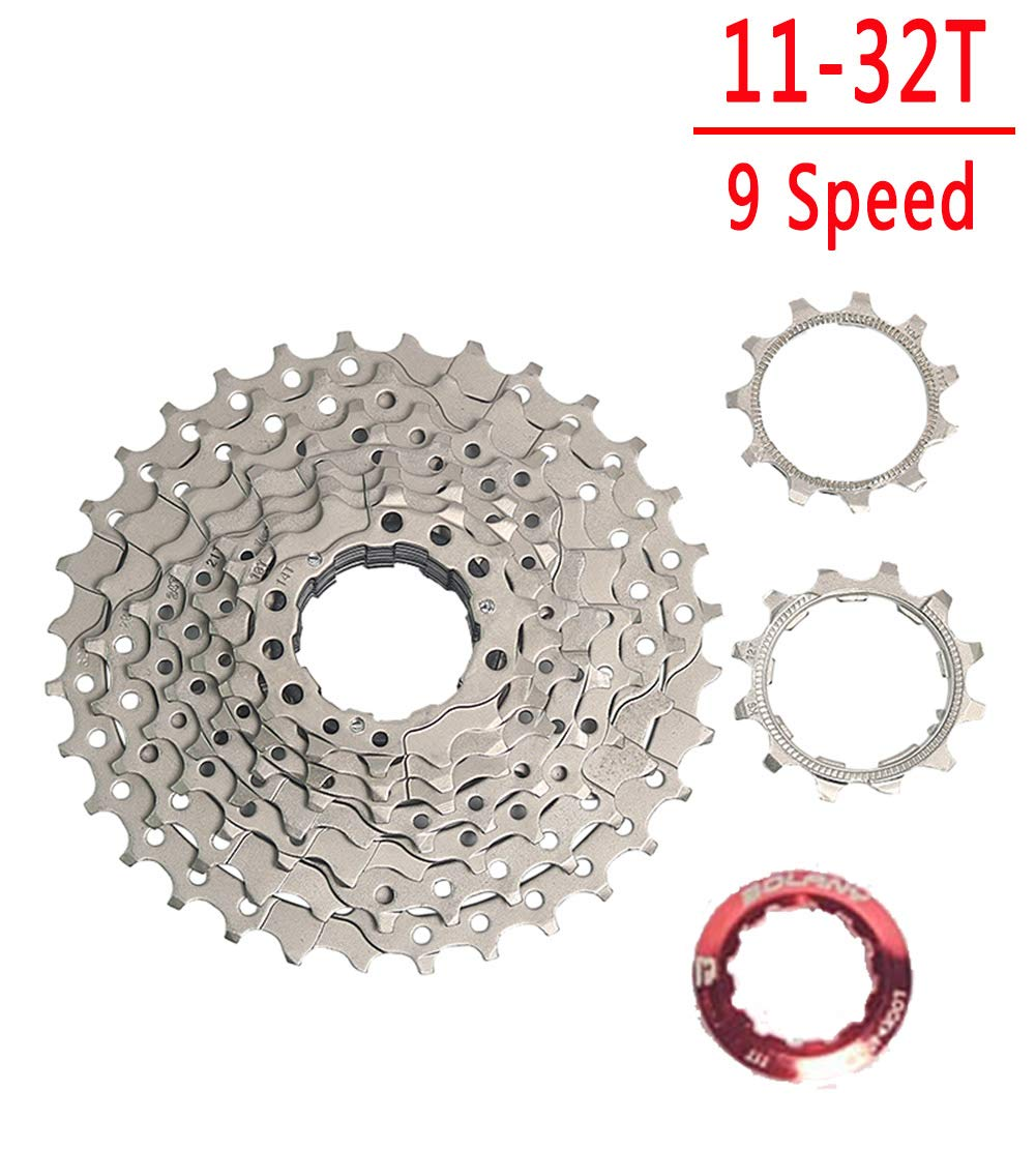 9 speed 32T Silver BOLANY 89101112 Speed Cassette 1132T 1136T 1140T 1142T 1146T 1150T 1152T Wide Ratio MTB Bicycle Part Freewheel Sprocket with Rear Derailleur Extension