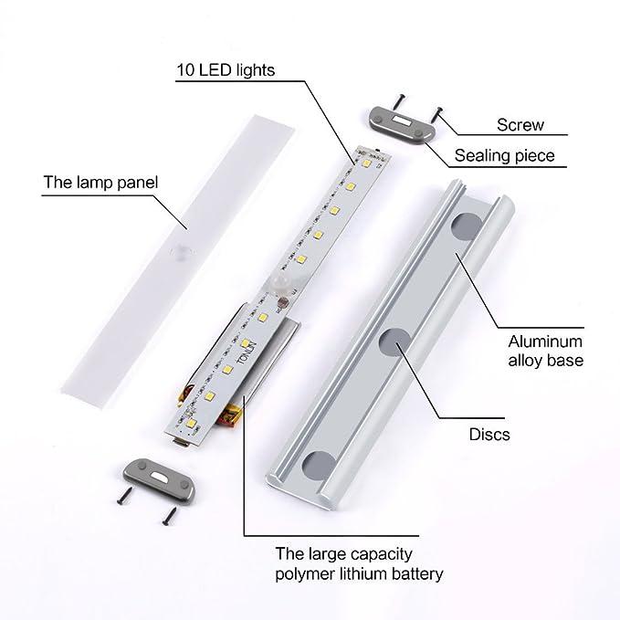 Wireless Movimiento activado luz LED 10 LEDs con USB recargable para armario, gabinete, pasillo, baño con puerto de carga USB y Stick-on en cualquier lugar ...
