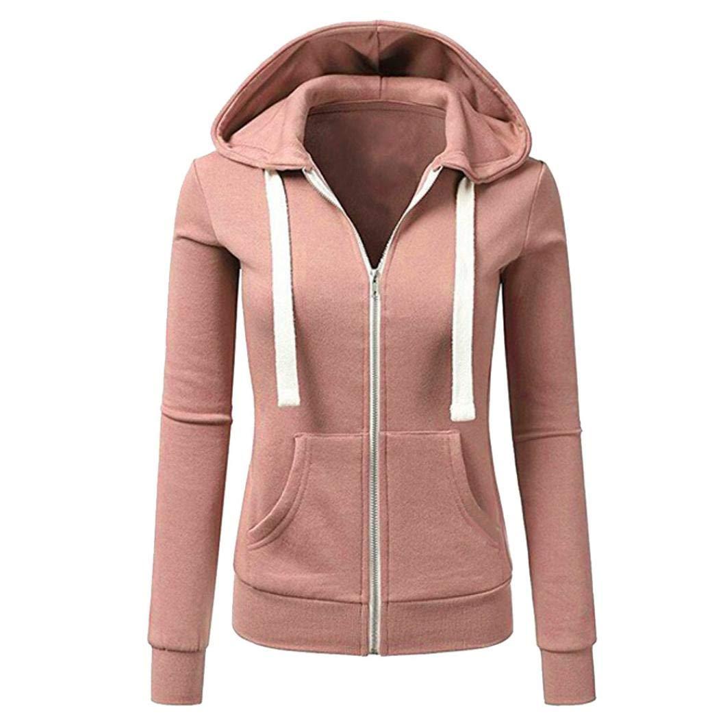 YANG-YI Clearance Women Long Sleeve Patchwork Hooded Zipper Casual Sport Coat