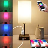 COZOO Bluetooth RGB & USB Bedside Table Lamp with 3 USB Charging Ports and 2 Outlets Power Strip, LED Light Bulb Dimmable, Mu