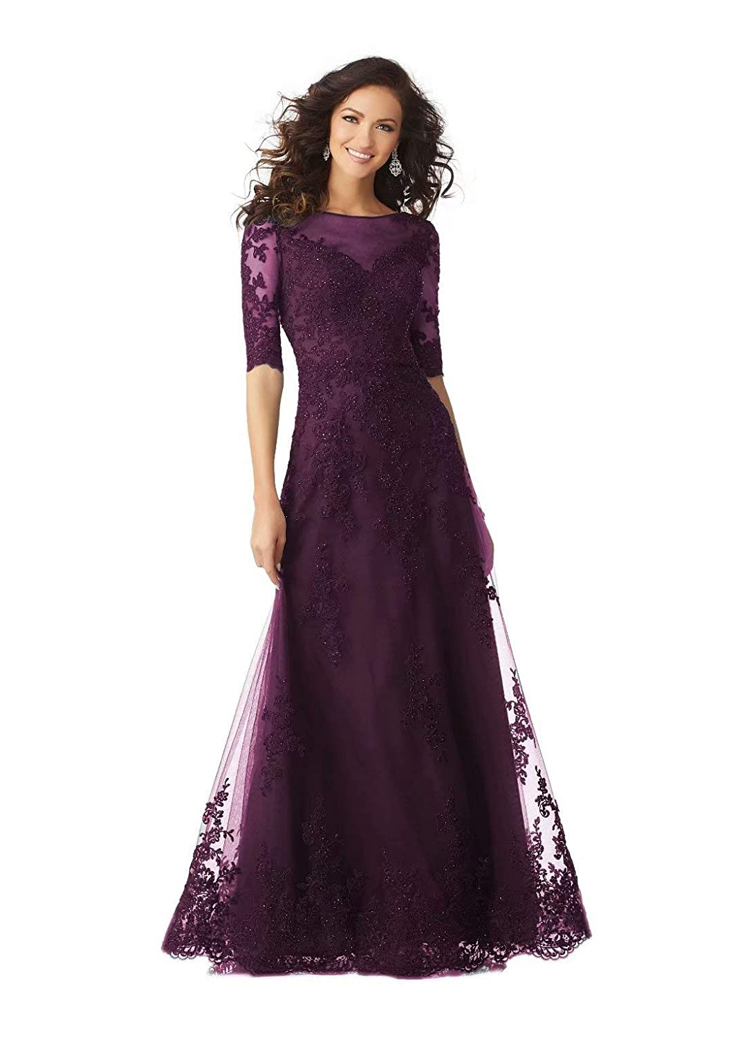 color 3 Unions Women Long Formal Evening Dresses Lace Applique Beaded Prom Party Gowns