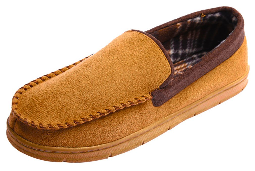 MIXIN Men's Casual Pile Lined Indoor Outdoor Rubber Sole Micro Suede Moccasin Flats Slippers (8-9 M US Men, Khaki and Brown)