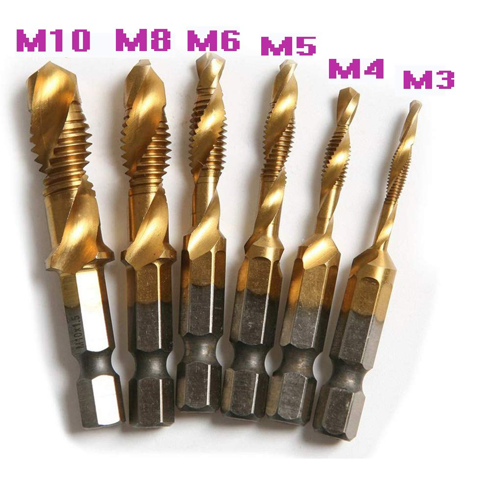 6 Pcs High Speed Steel HSS 4341 1//4 Inch Hex Shank Screw Thread Metric Tap Drill Bit M3//4//5//6//8//10 Titanium Plated Combination Drill and Tap Set