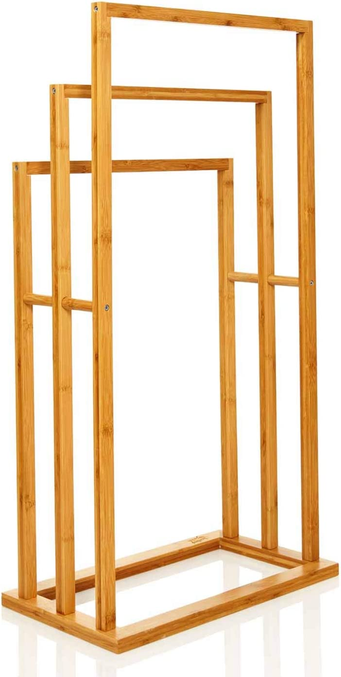 Elegantes Badaccessoire f/ür Handt/ücher Badezimmer bambuswald/© Handtuchhalter aus 100/% Bambus nachhaltiger /& /ökologischer Handtuchst/änder mit 3 Handtuchstangen freistehend f/ür Bad BZW