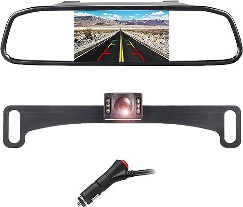 Backup Camera, LASTBUS Universal License Plate Camera Reversing Camera Interior Rear View Mirror