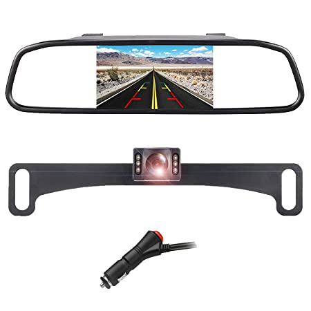 Backup Camera, LASTBUS Universal License Plate Camera Reversing Camera Interior Rear View Mirror