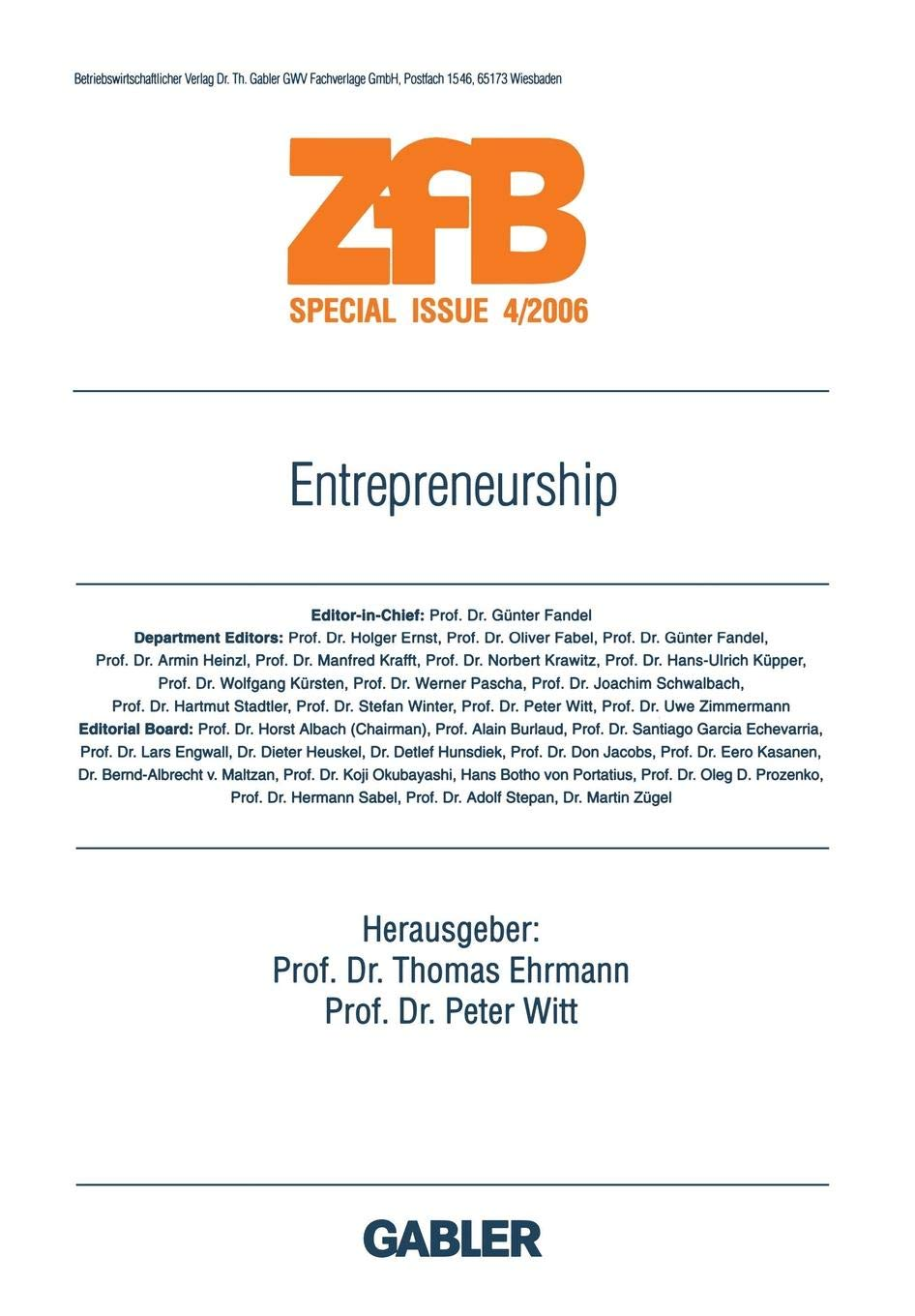 Entrepreneurship (ZfB Special Issue)