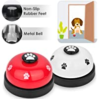 SlowTon Pet Bell, 2 Pack Metal Bell Dog Training with Non Skid Rubber Bottoms Dog Door Bell for Potty Training Clear Ring Pet Tool Communication Device for Small Dogs Cats (red+White)