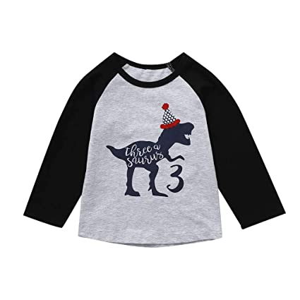 29ddc26636e1 Amazon.com : Kariwell Toddler Kids Baby Boy Girl Clothing Dinosaur Print  Birthday Shirt Cartoon Tee Tops Outfits : Sports & Outdoors