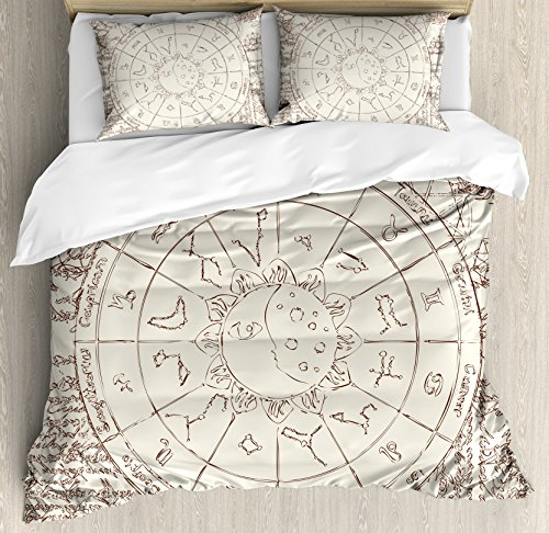 - Sun and Moon King Size Duvet Cover Set by Ambesonne, Ancient Papyrus Image Zodiac with Sun Moon Constellations Horoscopes Symbols, Decorative 3 Piece Bedding Set with 2 Pillow Shams, Brown Cream