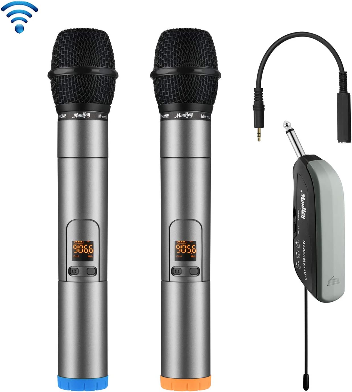 260 Channels Professional Dual Handheld Dynamic Mics Cordless Anti-Interference Moukey MwmU-1 UHF Wireless Microphone System Rechargeable 262ft Range for Karaoke Maichine DJ Church