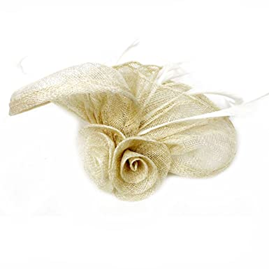 Maikun Women s Hat Vintage Headpiece Leather Fascinator Clip Birdcage Hat  Veils Beige 055126b85e2