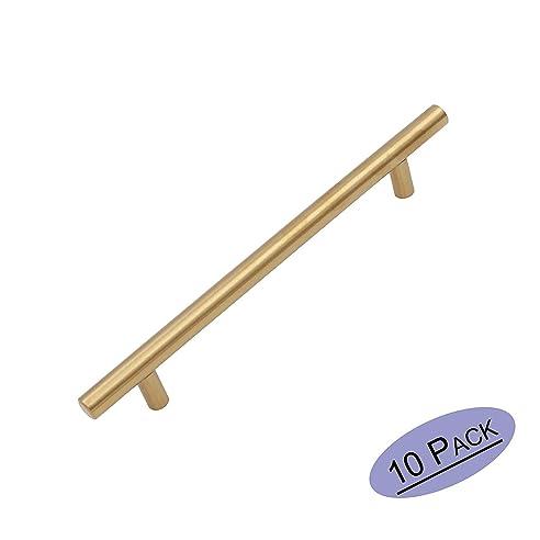 10X Goldenwarm® T Stangengriff Möbelgriffe Messing Goldfarben