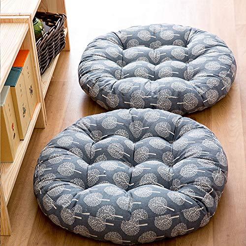 TMJJ Cotton & Linen Round Floor Pillow Cushion Japanese Style Futon Seat Cushion Thicken Chair Wave Window Pad 21'' x 21'',Set of 2 (Dark Happy Tree) by TMJJ Home (Image #1)
