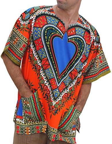ビッグアフリカ ダシキシャツ 半袖 バティック 心臓 Unisex Bright Africa Heart Dashiki Cotton Plus Size Shirt