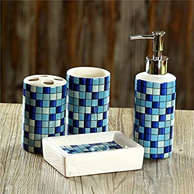 USTARAIL 4 Piece Bath Ensemble, Bath Set Collection Features Soap Dispenser Pump, Toothbrush Holder, Tumbler, Soap Dish Bathroom Accessories Sets - Colorful Mosaic Tile Pattern - FASHION-FORWARD BATH ACCESSORY - This bath accessory set is sure to elevate the look of any bathroom decor and also add functionality! Plus, this is a fail-proof gift idea for spa lovers! DURABLE CERAMIC LUXURY SET - this 4-Piece Bathroom Accessory Set is made of durable ceramics that¡¯s guaranteed to outlast competing products. Our quality ceramics bath accessories will resist to constant use, keeping their look just as spectacular and luxurious over time. COMPLETE FEATURED SET - most competitors offer incomplete sets or sell each accessory individually. With our collection, you¡¯ll get all accessories that your bathroom needs to be fully functional: 1 lotion/soap dispenser (6*6*18.6CM), 1 toothbrush holder (6.5*6.5*11CM) , 1 tumbler (6.5*6.5*11CM) and 1 soap dish (12.3*9.2*3.3CM) - bathroom-accessory-sets, bathroom-accessories, bathroom - 61T0HaBZM8L. SS400  -