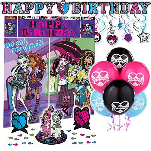 Monster High Premium Birthday Party Pack Decoration Kit Childrens Tableware -