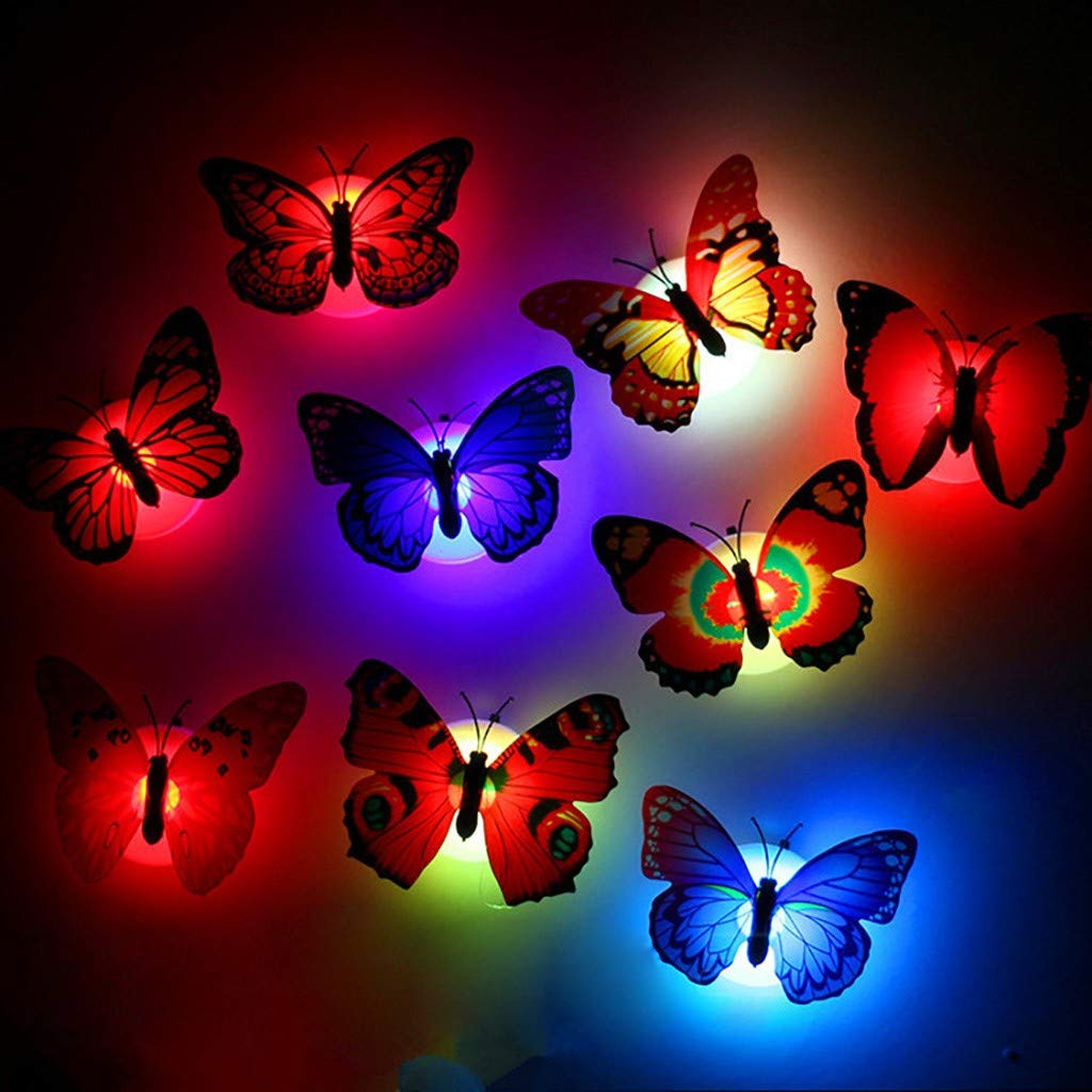 6PCS Butterfly LED Night Light with Suction Pad Colorful Changing Lamp 3D Wall Stickers House Decoration for Garden Backyard Lawn Party Festive (Multicolor)