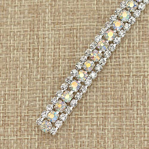 (3-Rows Rhinestone Chain Close Cup AB Ribbon Sparkle Trim for Garment Bag Shoe (Color - Multicolor))