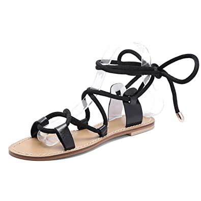 17f68d0db66 New-Loft Flat Sandals Women Cow Leather Lace up Gladiator Woman Casual  Beach Strappy Sandals