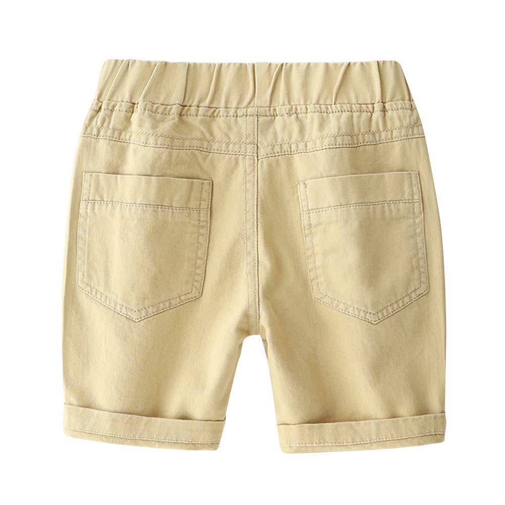 LAPLBEKE Beb/é Ni/ños Pantal/ón Corto Cintura El/ástica Algod/ón Casuales Shorts Verano del Aire Libre Longitud Rodilla Pantalones