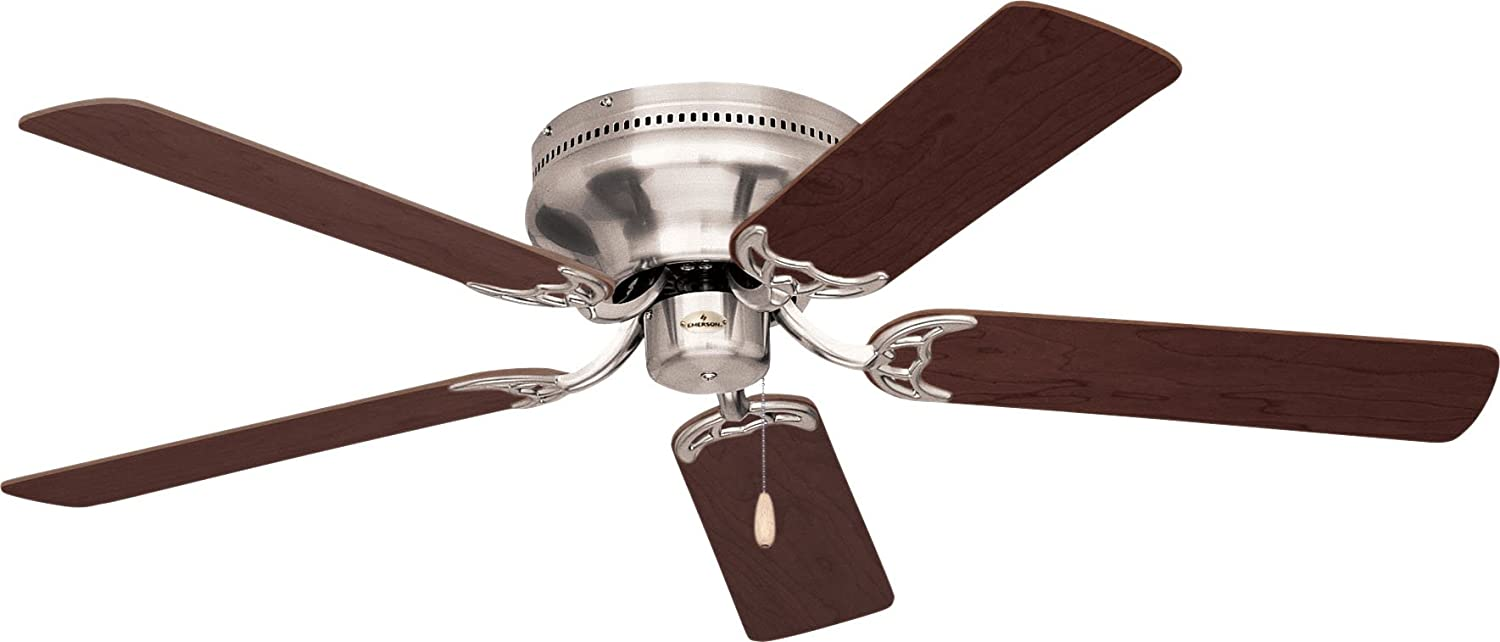 emerson ceiling fans cf805sbs snugger 52inch low profile ceiling fan hugger ceiling fan light kit adaptable brushed steel finish ceiling fans that