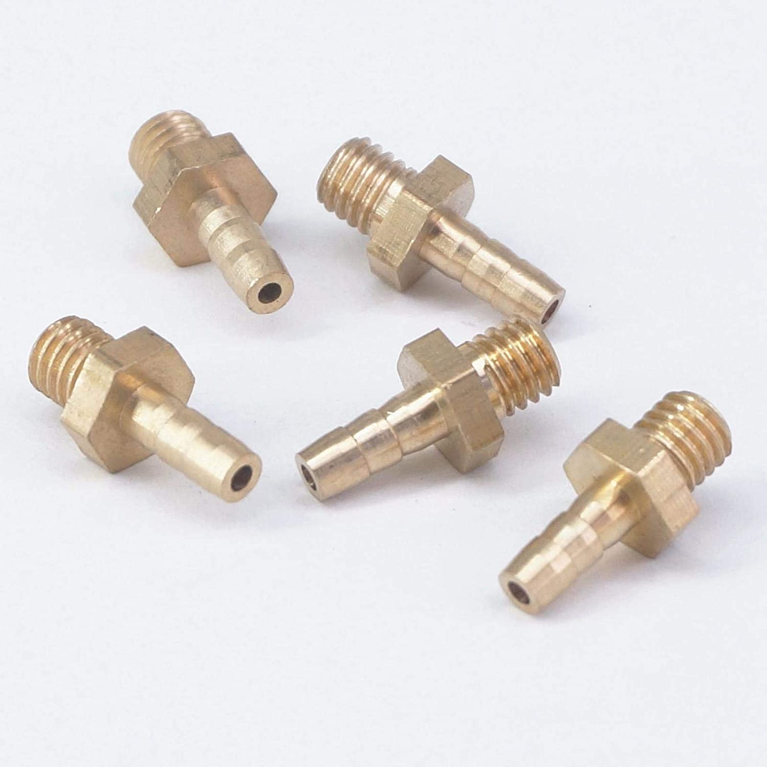 Maslin LOT 5 Hose Barb I//D 3mm x M5 Metric Male Thread Brass coupler Splicer Connector fitting for Fuel Gas Water