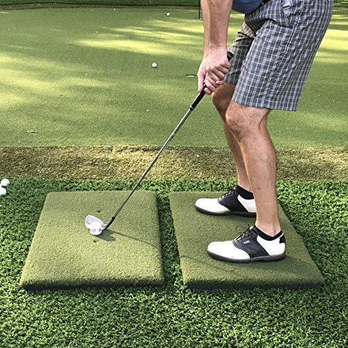 - Real Feel Golf Mats The Original Country Club Elite The First Golf Mat That Takes A Real Tee and Lets You Swing Down Through, Simulator, Indoor, Outdoor Use. Modular 2-Piece Twin-Combo System