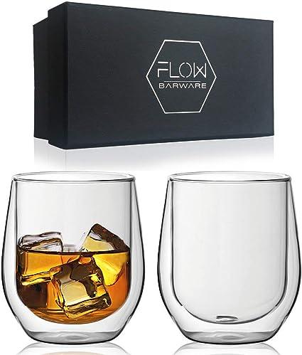 Vasos de whisky de doble pared, vasos de vidrio aislados para bebidas calientes o frías, café, ginebra, ron, whisky set de regalo
